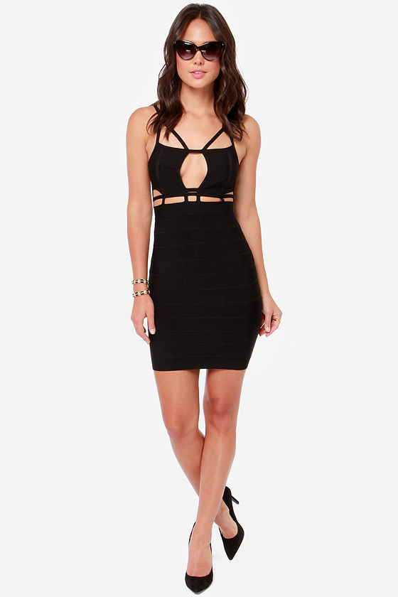 Shapes Station Black Bandage Dress at Lulus.com!