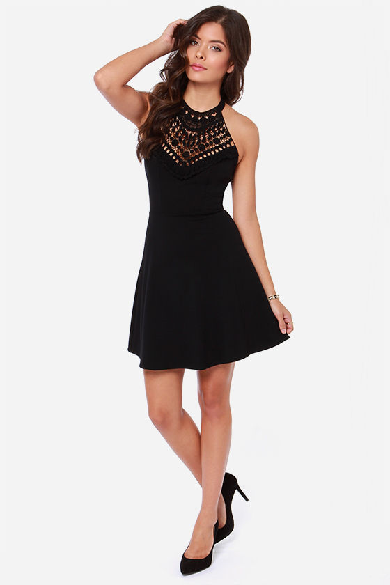 Lace In the Right Place Black Halter Dress at Lulus.com!