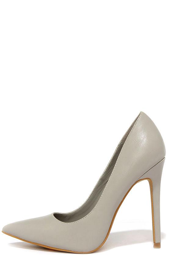 49848e0e625 Pretty Grey Pumps - Pointed Pumps - Grey Heels -  34.00