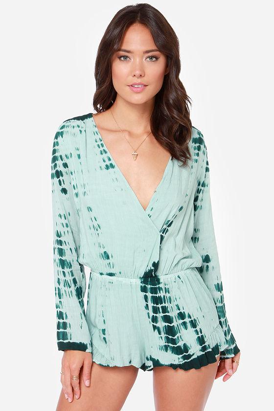 Sexy Green Romper - Green Tie Dye - Long Sleeve Romper -  72.00
