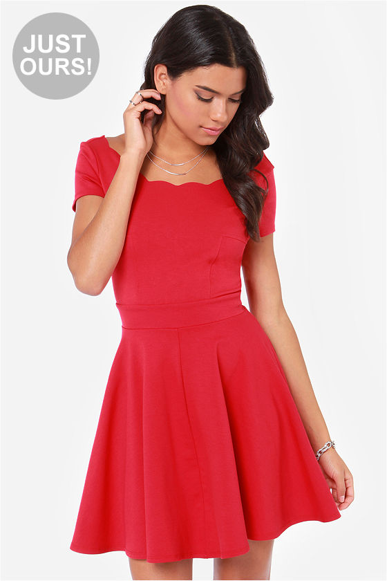 Cute Red Dress - Skater Dress - Fit and Flare Dress - $53.00