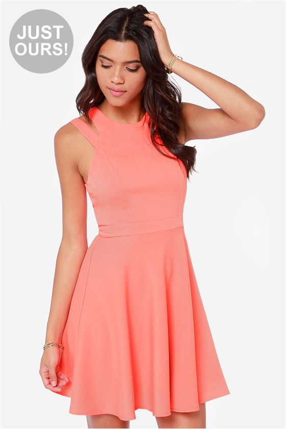 Cute Coral Dress Skater Dress Fit And Flare Dress 45 00