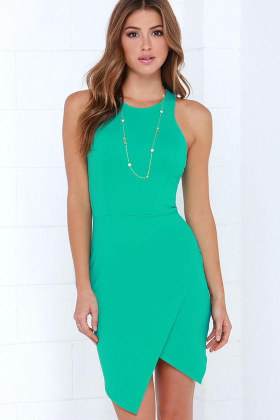 9b18f5ffa337 Cute Sea Green Dress - Envelope Skirt Dress - Bodycon Dress -  37.00