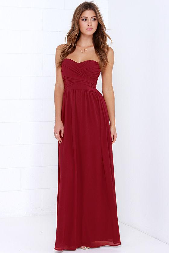 a0c4e97785e2 Lovely Wine Red Dress - Strapless Dress - Maxi Dress -  68.00