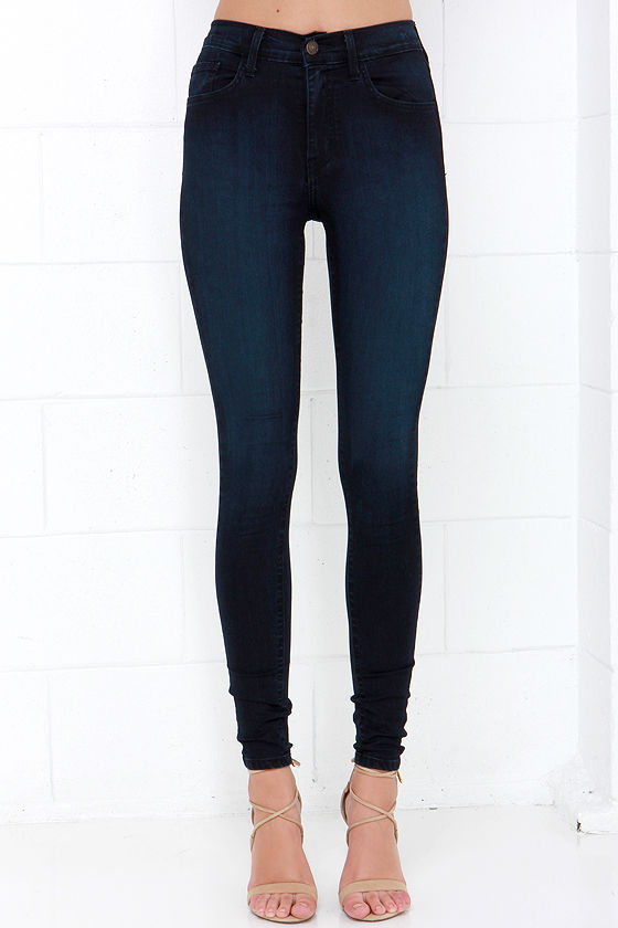 Chic Dark Wash Jeans - High-Waisted Jeans - Skinny Jeans - $68.00