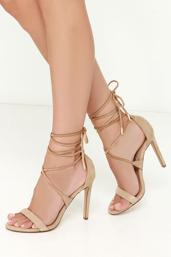 Sexy Beige Heels Leg Wrap Heels Leg Wrap Sandals 89 00