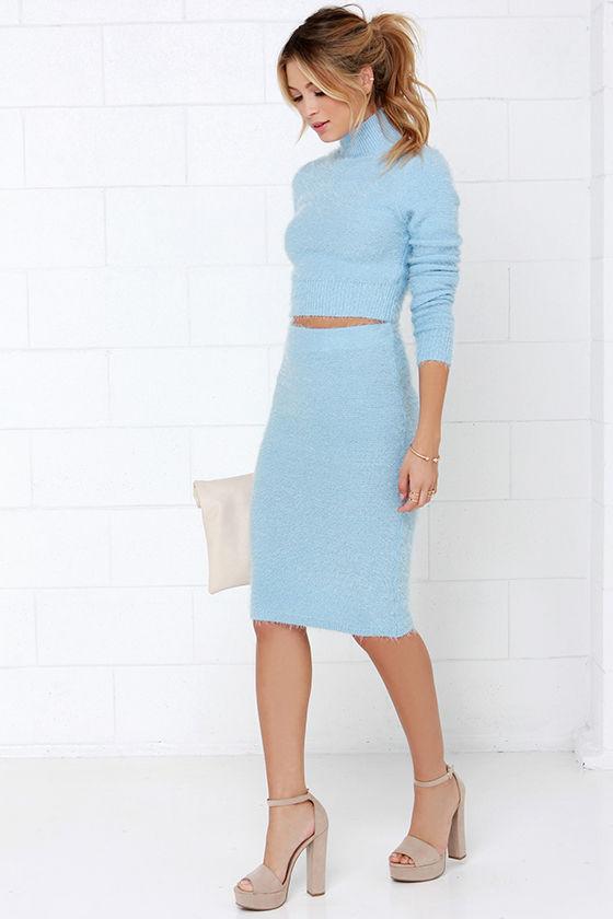 Cute Light Blue Dress Two Piece Dress Long Sleeve