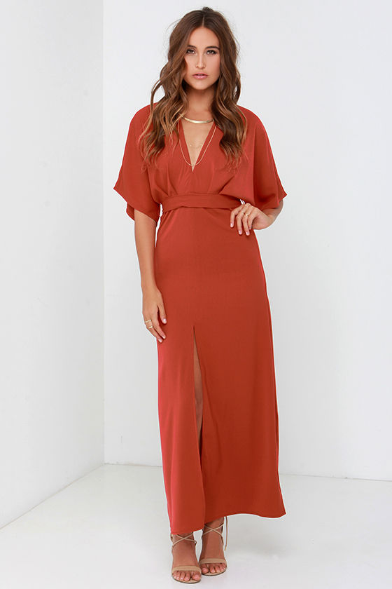 a53e966eeb6 Lovely Rust Red Dress - Maxi Dress - Kimono Dress -  73.00