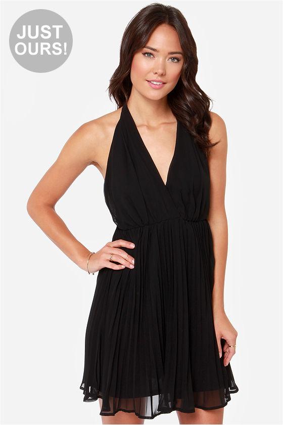 Pretty Black Dress - Pleated Dress - Halter Dress - $42.00