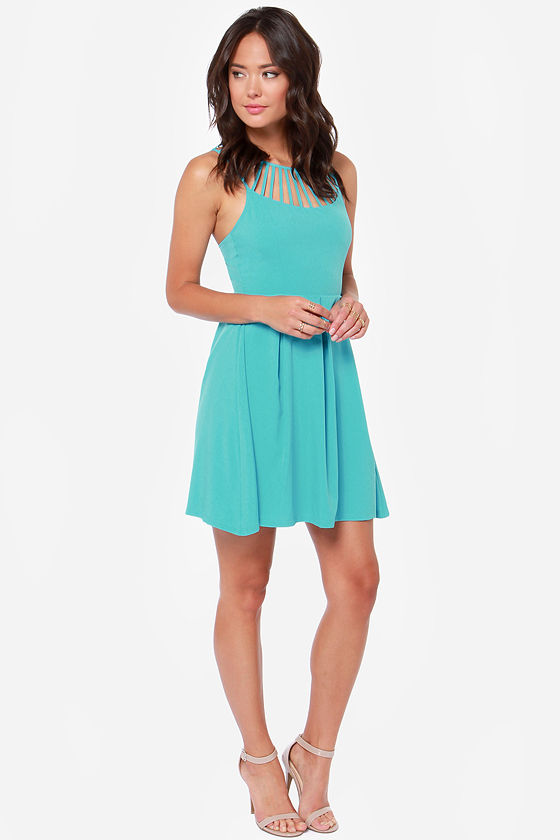 LULUS Exclusive Cage-ean Sea Turquoise Dress at Lulus.com!