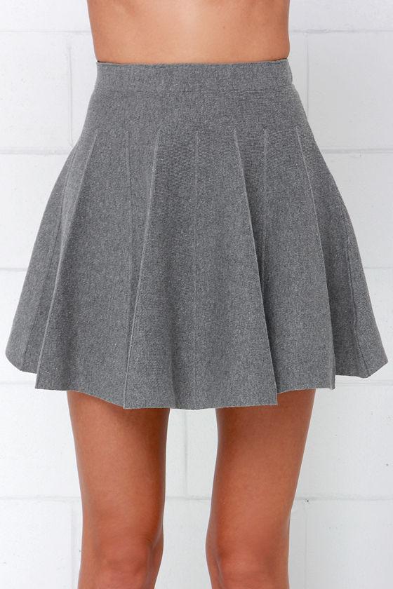 Cute Grey Skirt - Skater Skirt - Pleated Skirt - Wool Skirt - $44.00