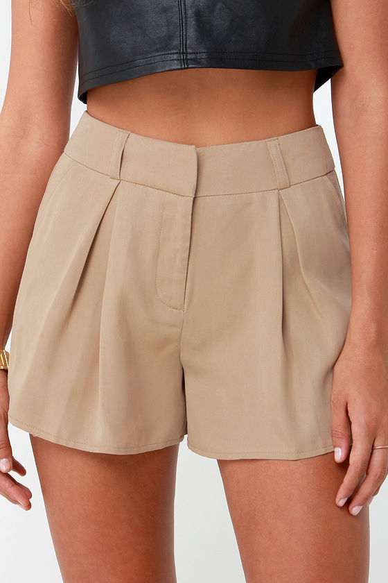 Chic Beige Shorts - Tailored Shorts - Pleated Shorts - $42.00