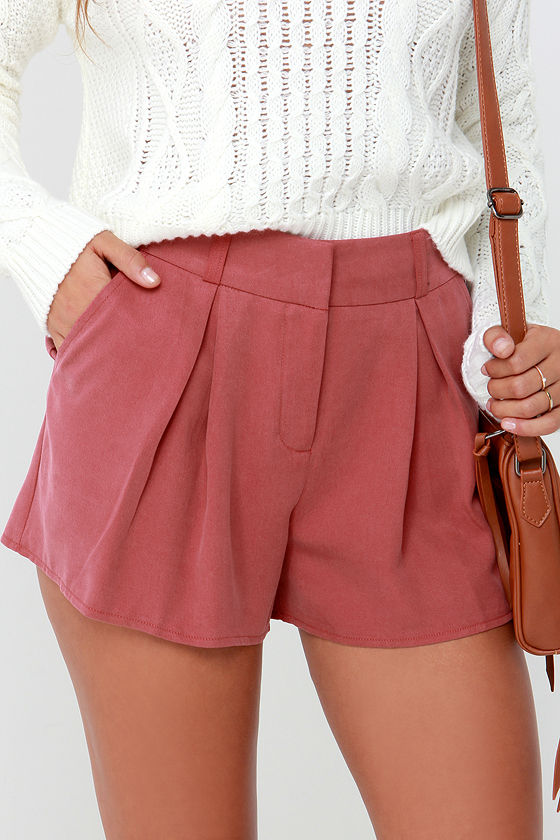 Chic Rust Red Shorts - Tailored Shorts - Pleated Shorts - $42.00