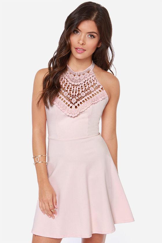 Lovely Light Pink Dress - Halter Dress - Lace Dress - $40.00