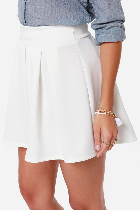LULUS Exclusive Times Flare Ivory Skirt at Lulus.com!