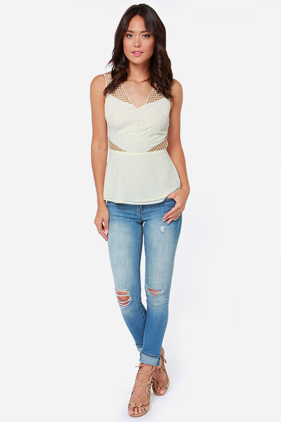 Much Ado About Netting Embroidered Cream Top at Lulus.com!