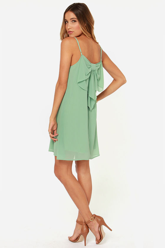 LULUS Exclusive Bow Fo Show Sage Green Shift Dress at Lulus.com!