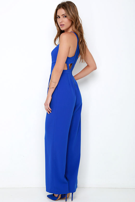 Cobalt Blue Jumpsuit - Sleeveless Jumpsuit - Wide-Leg Jumpsuit ...