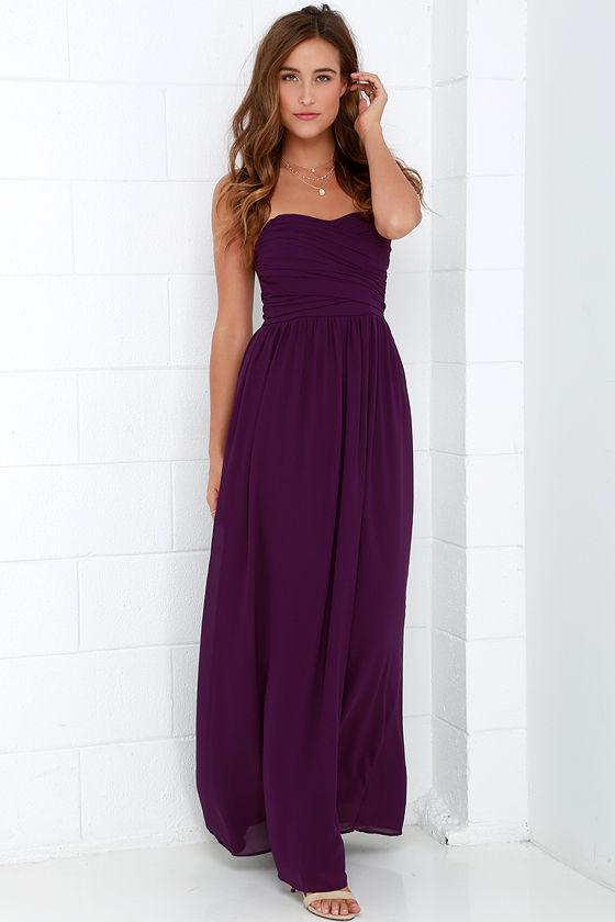 752f14238e6 Lovely Purple Dress - Strapless Dress - Maxi Dress -  68.00