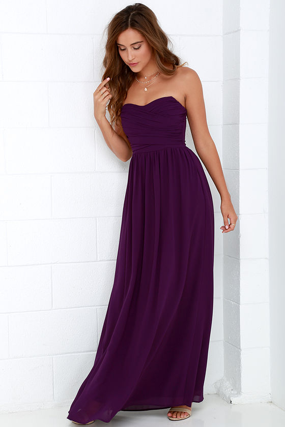 Lovely Purple Dress - Strapless Dress - Maxi Dress - $68.00