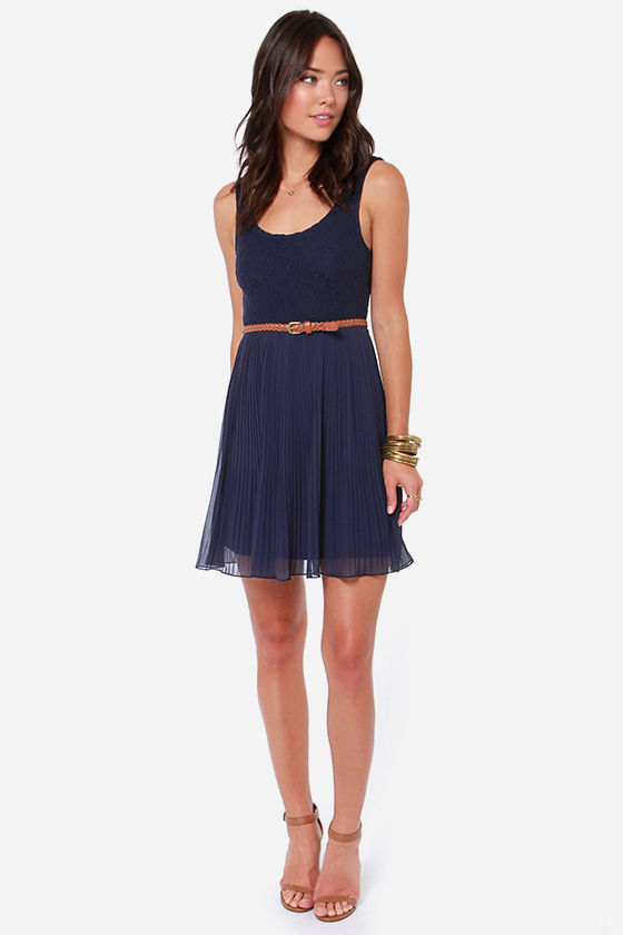 Others Follow Molly Navy Blue Lace Dress at Lulus.com!