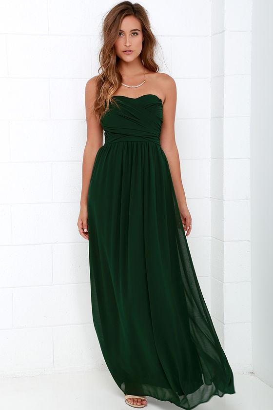 Lovely Dark Green Dress - Strapless Dress - Maxi Dress - $68.00