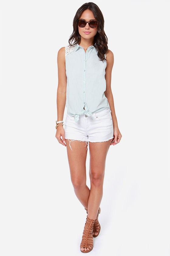 Others Follow Breeze Light Blue Lace Top at Lulus.com!