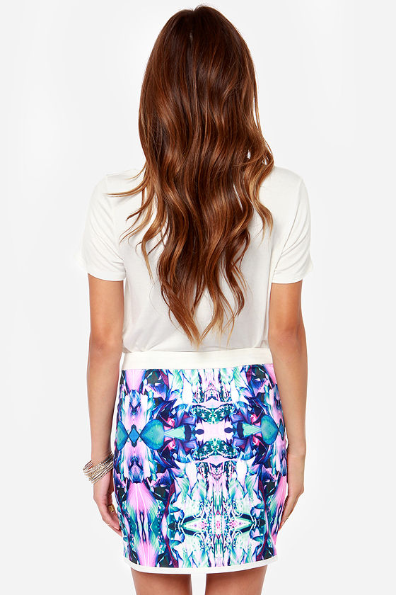 You and I Collide-oscope Purple Print Mini Skirt at Lulus.com!