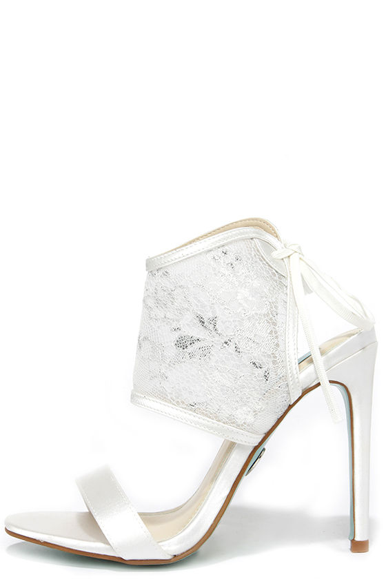 Blue By Betsey Johnson Sloan Ivory Lace High Heels