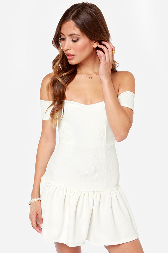 Work Your Magic Off-the-Shoulder Ivory Dress at Lulus.com!