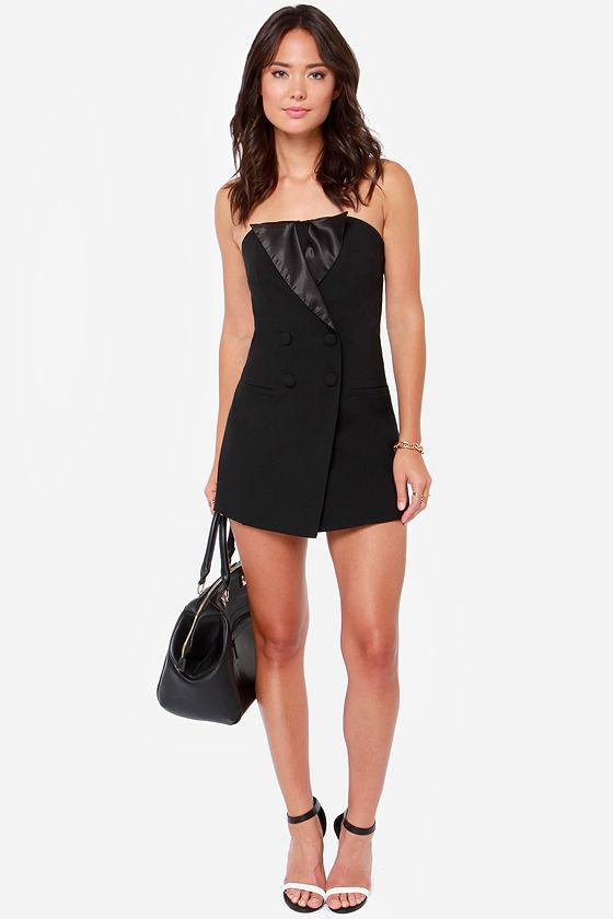 Luxe Tux Strapless Black Romper at Lulus.com!
