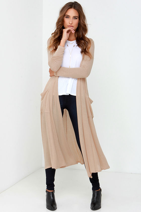 Beige Sweater - Long Cardigan - Long Sweater - $48.00