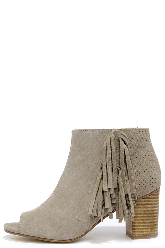 Cute Taupe Booties - Peep-Toe Booties - Fringe Booties - $97.00