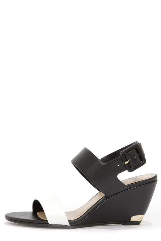 City Classified Camya White and Black Wedge Sandals at Lulus.com!