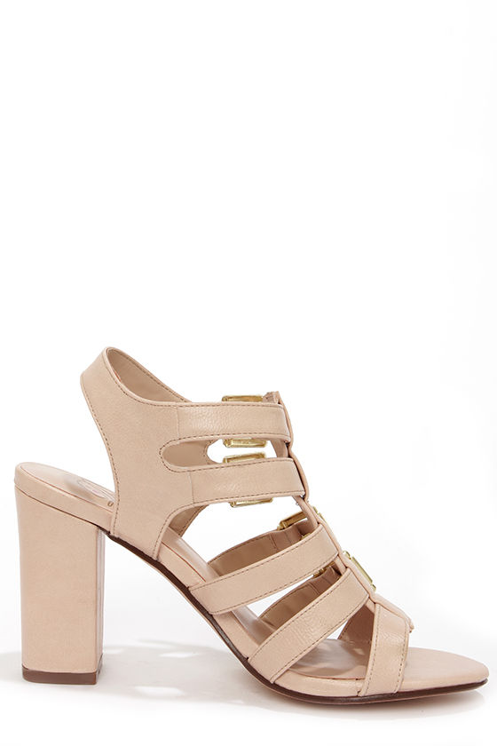My Delicious Leggy Blush Caged High Heel Sandals at Lulus.com!