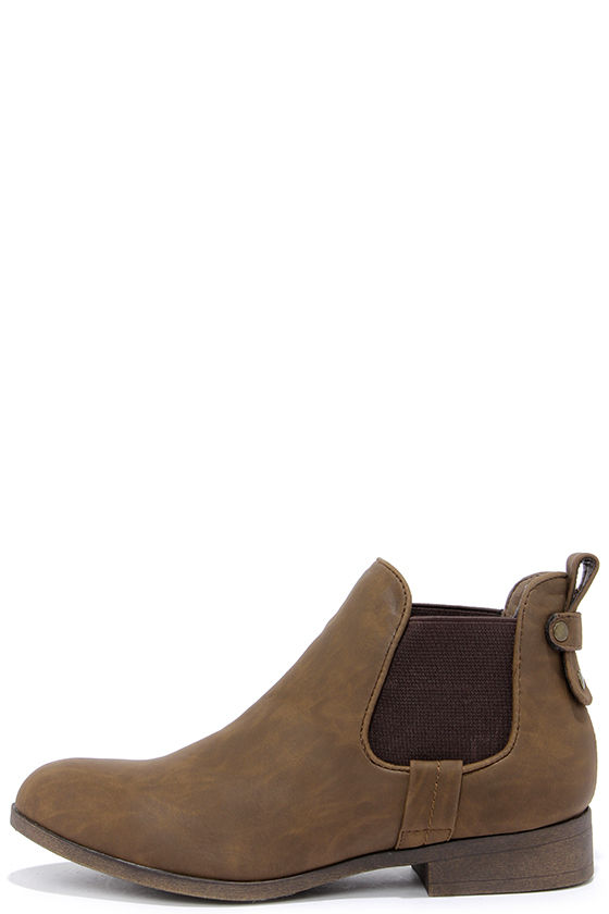 - Cute Brown Booties - Chelsea Boots - Ankle Boots - $49.00