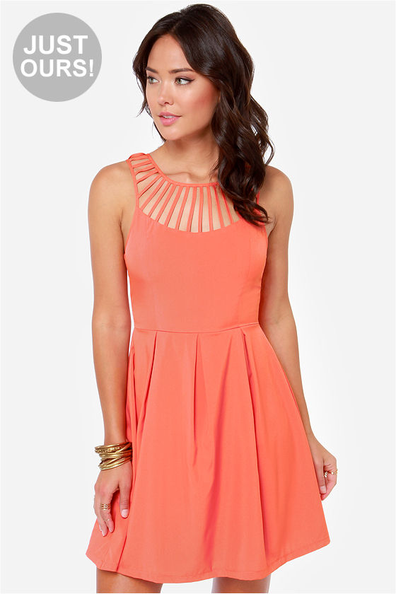Cute Coral Dress - Sleeveless Dress - $40.00
