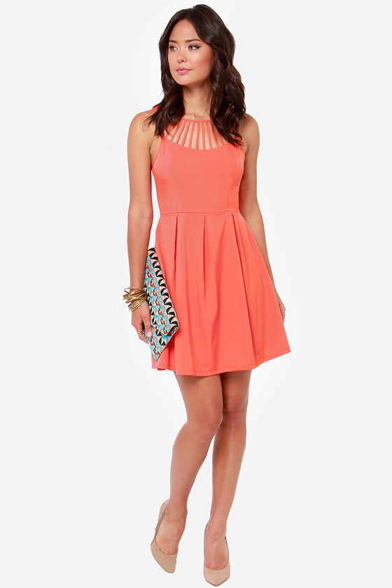 LULUS Exclusive Cage-ean Sea Coral Dress at Lulus.com!