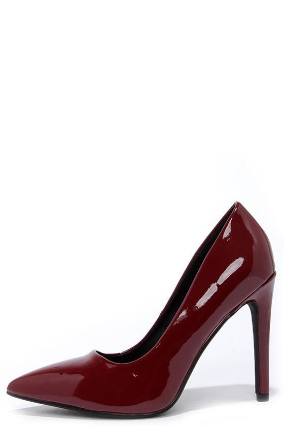 Chic Burgundy Pumps - Pointed Pumps - Vegan Leather Heels -  22.00