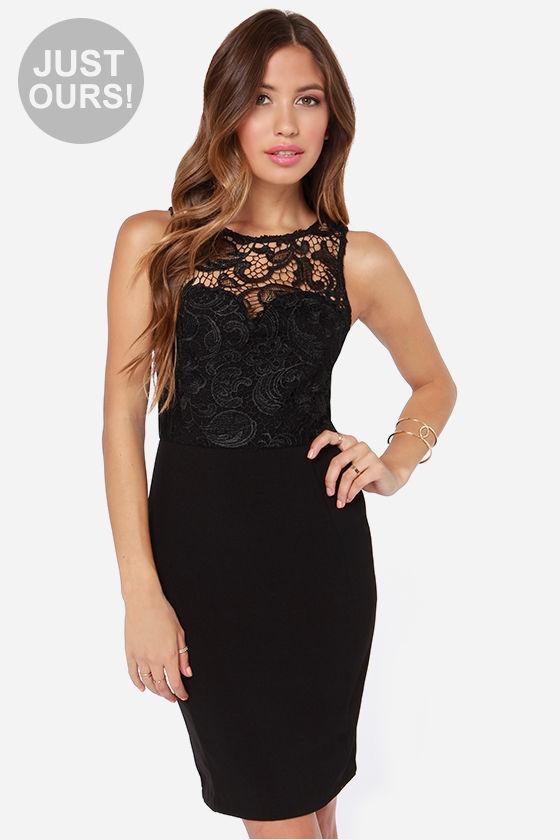 Classy Black Dress - Lace Dress - Midi Dress - $60.00