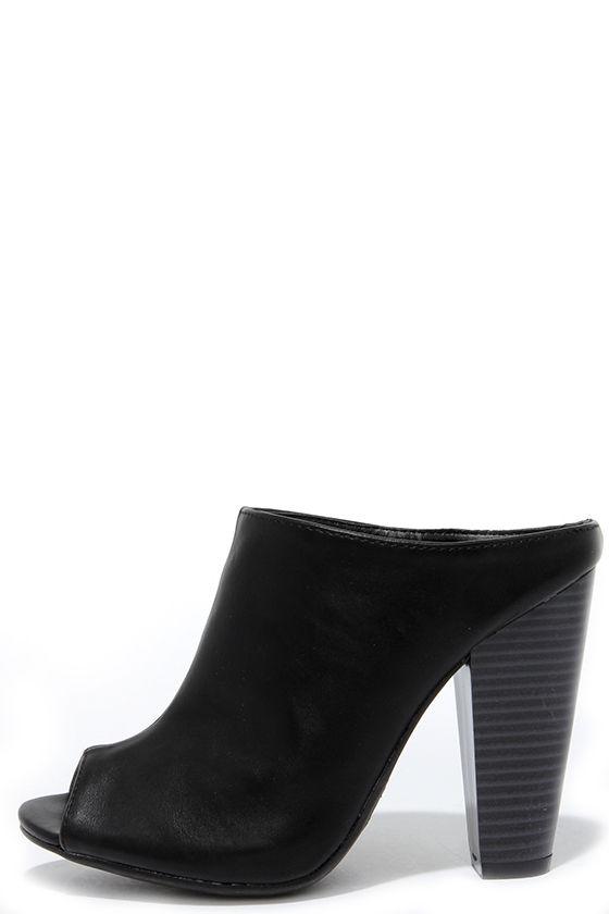 73177573b0097 Cute Black Mules - Peep-Toe Mules - Mule Heels - Slide Heels - $34.00