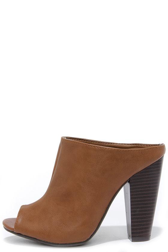db3453c87d7 Cute Brown Mules - Peep-Toe Mules - Mule Heels - Slide Heels -  34.00