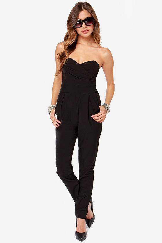 Images of Strapless Black Jumpsuit - Reikian