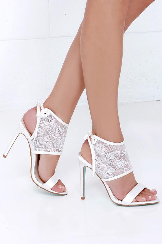 a60371b80dd Pretty Ivory Heels - Lace Heels - High Heels - Bridal Shoes - Dress ...