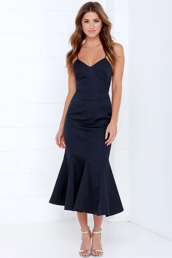 Keepsake Crossed the Line Dress - Midnight Blue Dress - $240.00