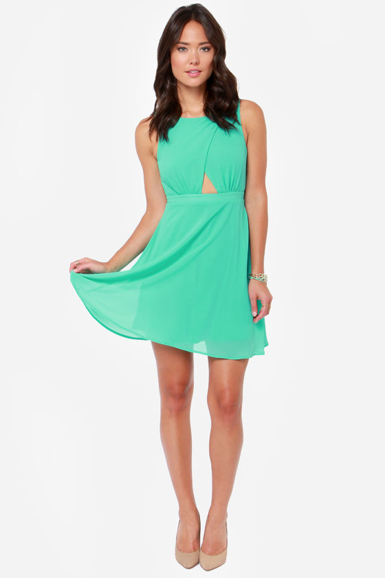 LULUS Exclusive Cutout to the Chase Sea Green Dress at Lulus.com!
