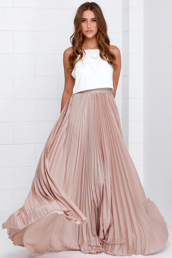 143ac8aa6 Pretty Beige Skirt - Maxi Skirt - Accordion Pleated Skirt - $139.00