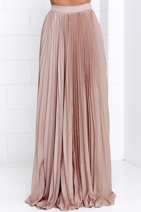 Pretty Beige Skirt - Maxi Skirt - Accordion Pleated Skirt - $139.00