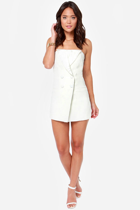 Luxe Tux Strapless Ivory Romper at Lulus.com!