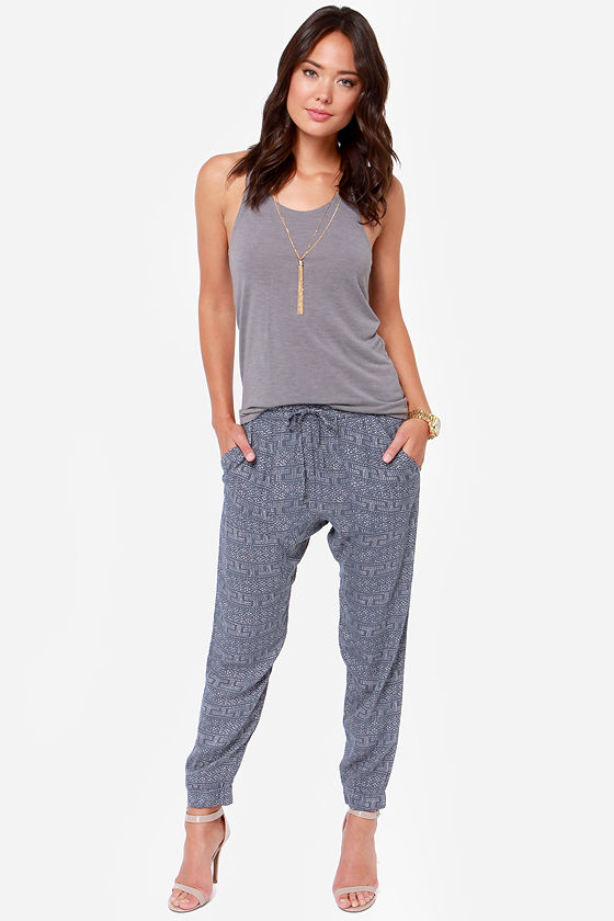 Obey Keegan Mood Indigo Blue Print Harem Pants at Lulus.com!